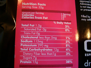 Nutrition Facts of Click Protein