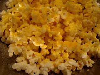 Close up of Nutritional Yeast on popcorn