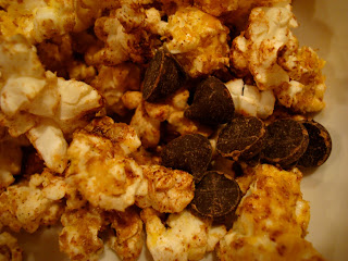 Popcorn with chocolate chips added