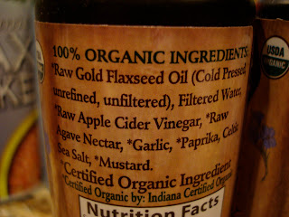 Label of ingredients in Flax Oil Dressing