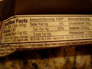 Nutrition information on Cookie Dough Luna Prtoein Bar