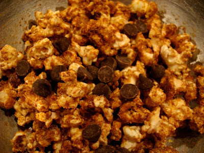Maca, Nooch, and Coconut Oil Popcorn with chocolate chips