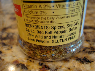 Ingredients for Dressing Mix on bottle