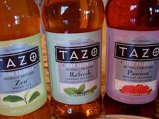 Three bottles of various flavors of Tazo Zero Teas