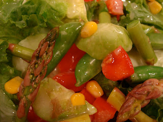 Close up of mixed salad with vegetables
