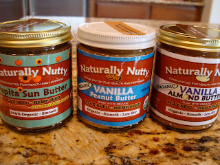 Three nut butters on countertop