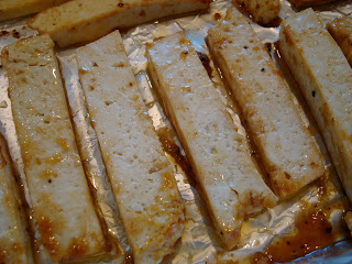 Close up of flipped tofu