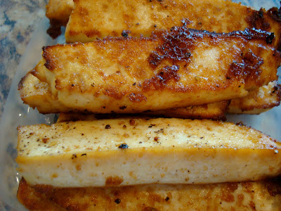 Close up of stacked Sesame Ginger Maple Tofu