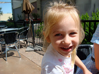 Close up of young girls face while smiling
