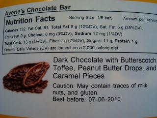 Back label of bar
