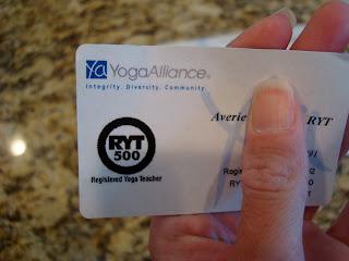 Yoga Alliance Certification Card