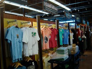 T-shirts hanging on walls