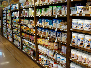 Shelves full of protein products