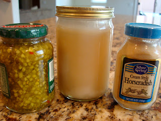 Vegan Slaw Dressing, Horseradish and Pickle Relish containers