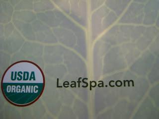 Close up of leaf spa website address