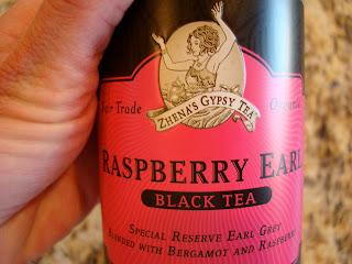Close up of Raspberry Earl Black Tea label