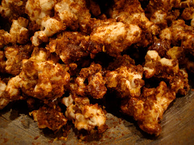 Close up of Chocolate Coconut Oil Protein Popcorn