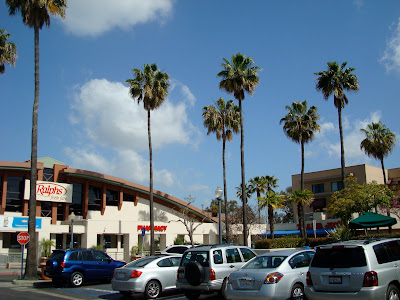Parking lot of cars with palm trees