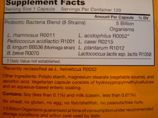 Supplement Facts on back of probiotics