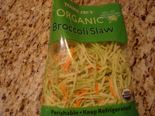 Trader Joe's Organic Broccoli Slaw in packaging on countertop