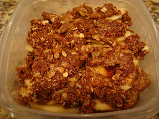 Finished Apple Crumble in clear container