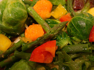 Mixed vegetables drizzled with dressing