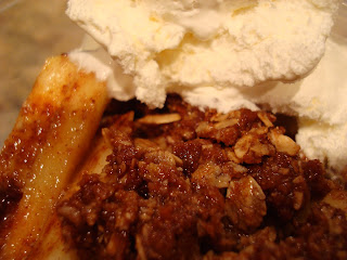 Raw Vegan 15-Minute Apple Crumble Delight topped with cool whip