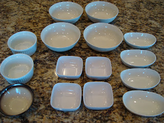 Various sized dishes and bowls on countertop