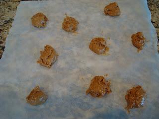 Vegan Peanut Butter Cookie Dough Balls on parchment paper