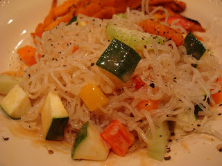 Kelp noodles white plate served with mixed vegetables
