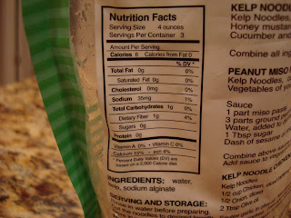 Nutritional Facts on back of Kelp Noodle Package