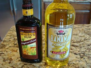 Bottles of Meyer's Rum and Banana Schnapps on countertop