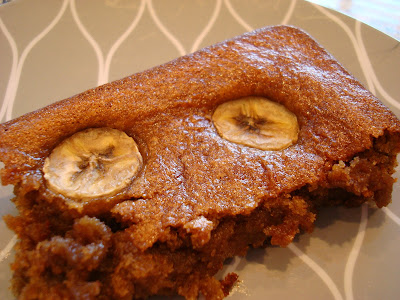 Slice of Vegan Peanut Butter Banana Bread Cake on plate
