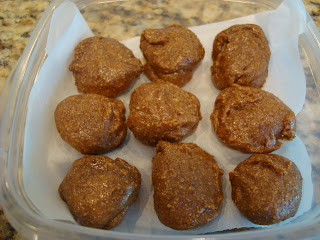 Raw Vegan Gingerbread Cookies in container separated by parchment paper