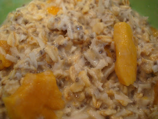 Close up of Overnight Chia Seed-Coconut-Mango Soaked Oats