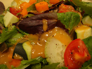 Salad topped with Homemade Peanut Sauce