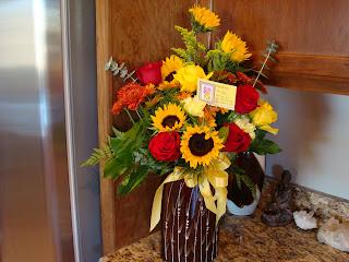 Vase of flowers on countertop