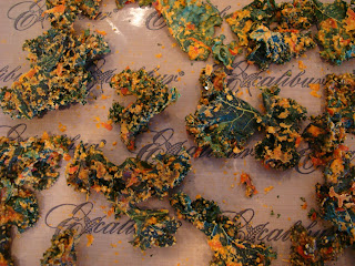 Overhead of Kale chips on dehydrator tray