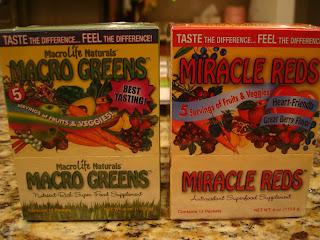 Boxes of Macro Life Naturals Macro Greens & Miracle Reds Supplements