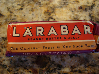 Peanut Butter and Jelly Larabar in package on countertop