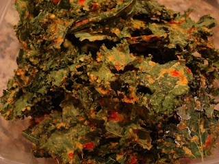 Stack of Kale chips in clear container