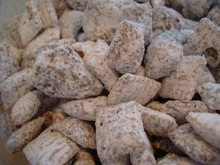 Close up of Vegan Chocolate PB Chex Mix
