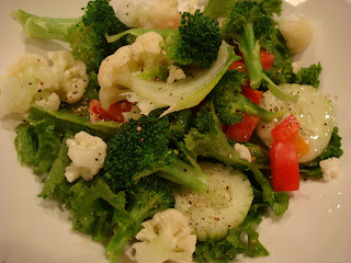 Salad with vegetables in white dish