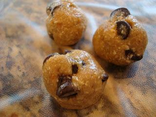 Three Raw Vegan Chocolate Chip Cookie Dough Balls