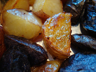 Crispy skin close up of mixed colored potatoes