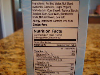 Nutritional facts on MimicCream box