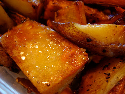 Close up of Ginger Roasted White Potato Wedges