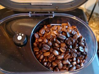 Coffee Beans in compartment of Espresso Maker