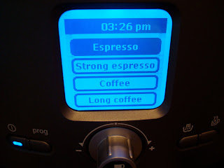 LED display showing time and different strengths of espresso or coffee you can make