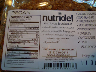 Nutritional Facts on back of Pecan Cookie package